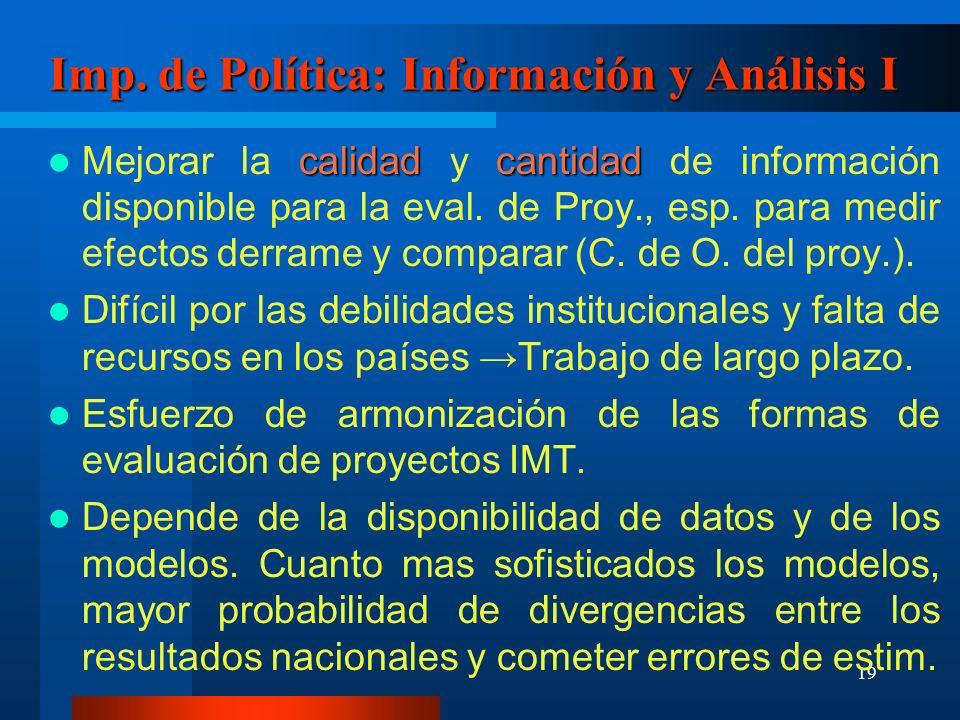 20 Imp.de Política: Información y Análisis II Los modelos deben incluír imperf.