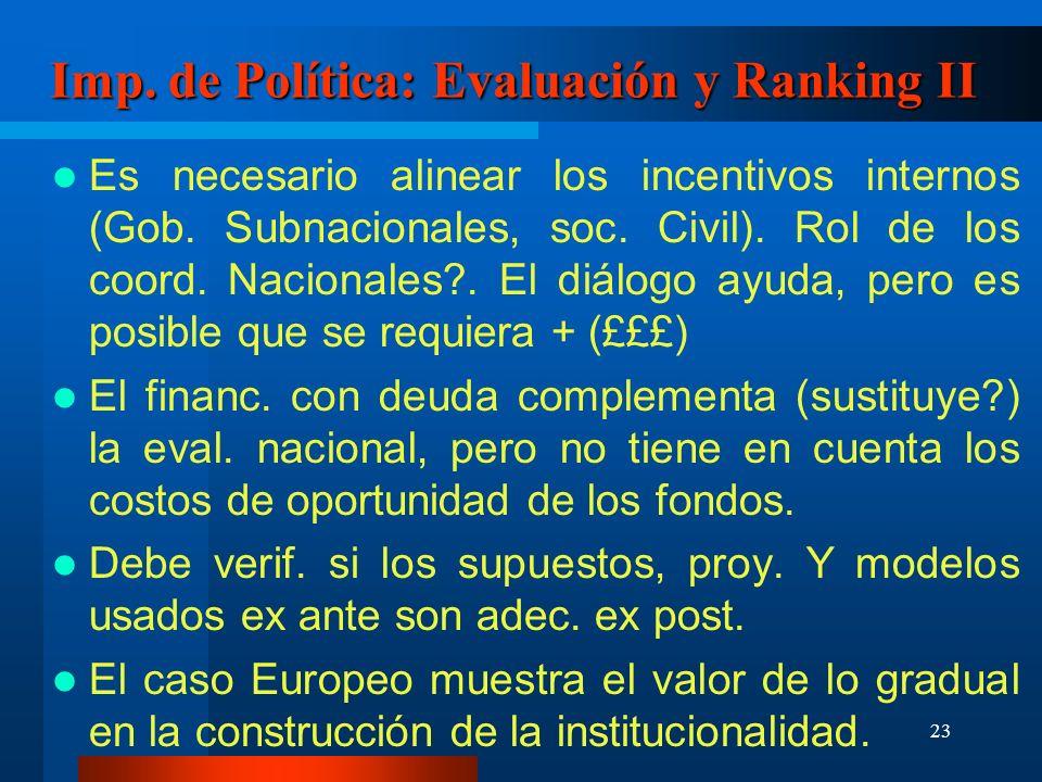 23 Imp. de Política: Evaluación y Ranking II Es necesario alinear los incentivos internos (Gob.