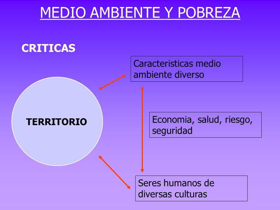 TERRITORIO Caracteristicas medio ambiente diverso Seres humanos de diversas culturas Economia, salud, riesgo, seguridad MEDIO AMBIENTE Y POBREZA CRITI