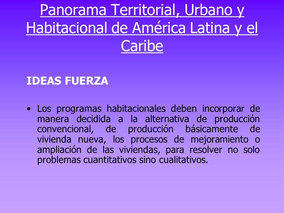 IDEAS FUERZA Evitar una fragmentación entre espacios integrados que progresan rápidamente y otros que quedan excluidos de este proceso implica convertir al sistema de ciudades en una estructura mas eficiente y competitiva que desarrolle un entorno de mayor habitabilidad ambientalmente sustentable y socialmente equitativo Panorama Territorial, Urbano y Habitacional de America Latina y el Caribe
