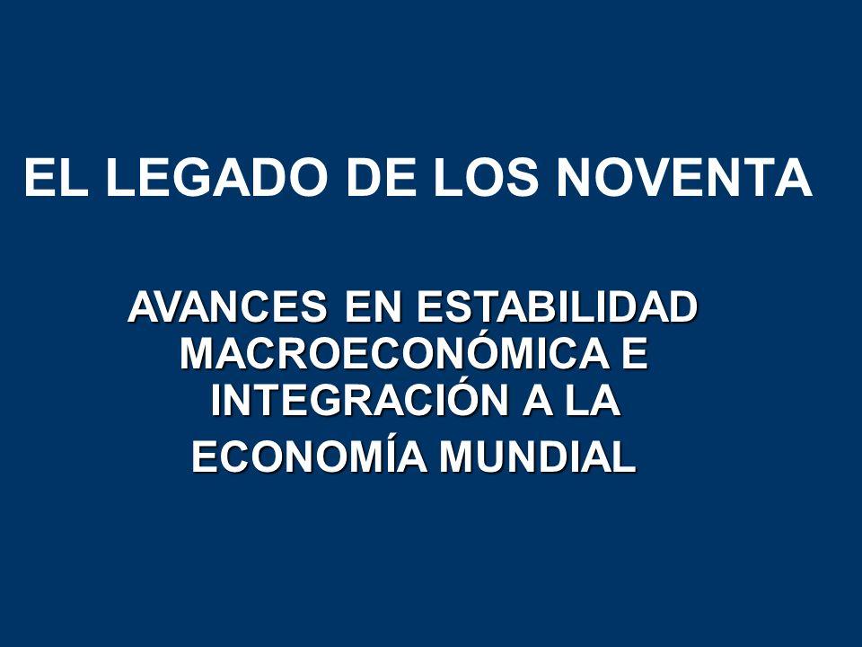 EL LEGADO DE LOS NOVENTA AVANCES EN ESTABILIDAD MACROECONÓMICA E INTEGRACIÓN A LA ECONOMÍA MUNDIAL