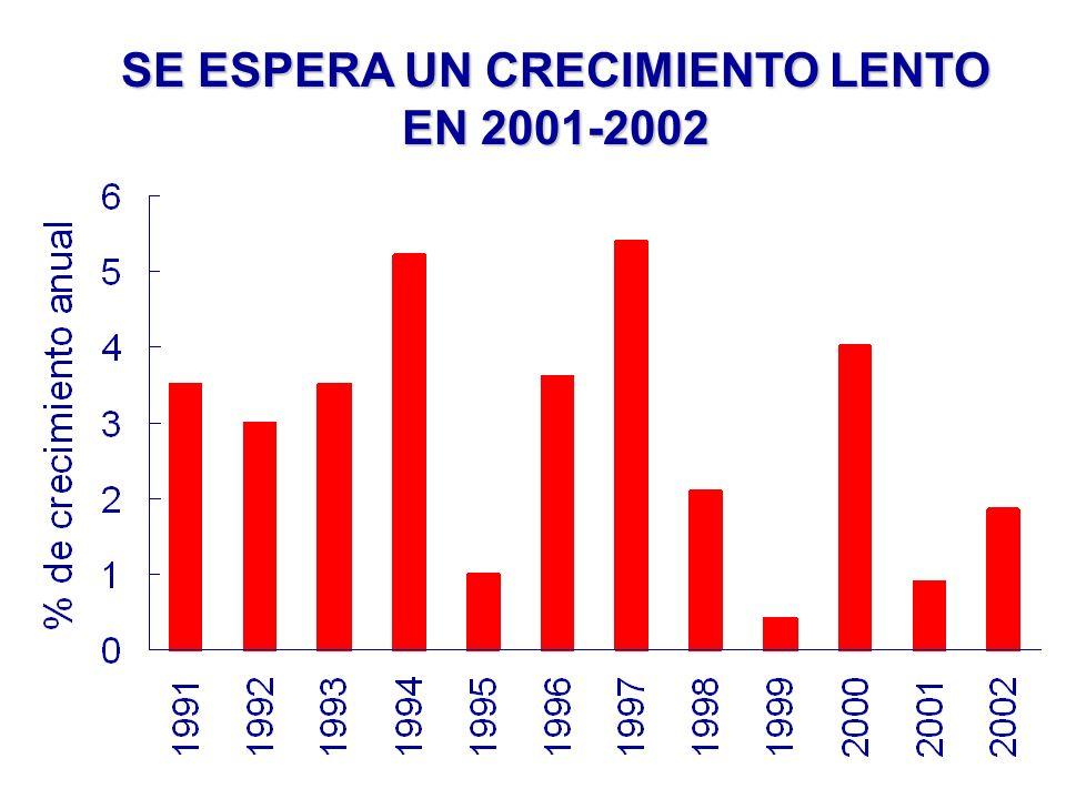 SE ESPERA UN CRECIMIENTO LENTO EN 2001-2002