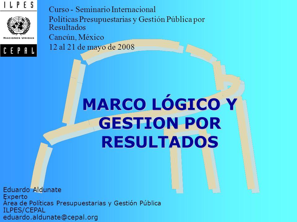 Introducción Objetivos Indicadores Medios de Verificación Supuestos MARCO LÓGICO Y GESTION POR RESULTADOS Eduardo Aldunate Experto Área de Políticas P