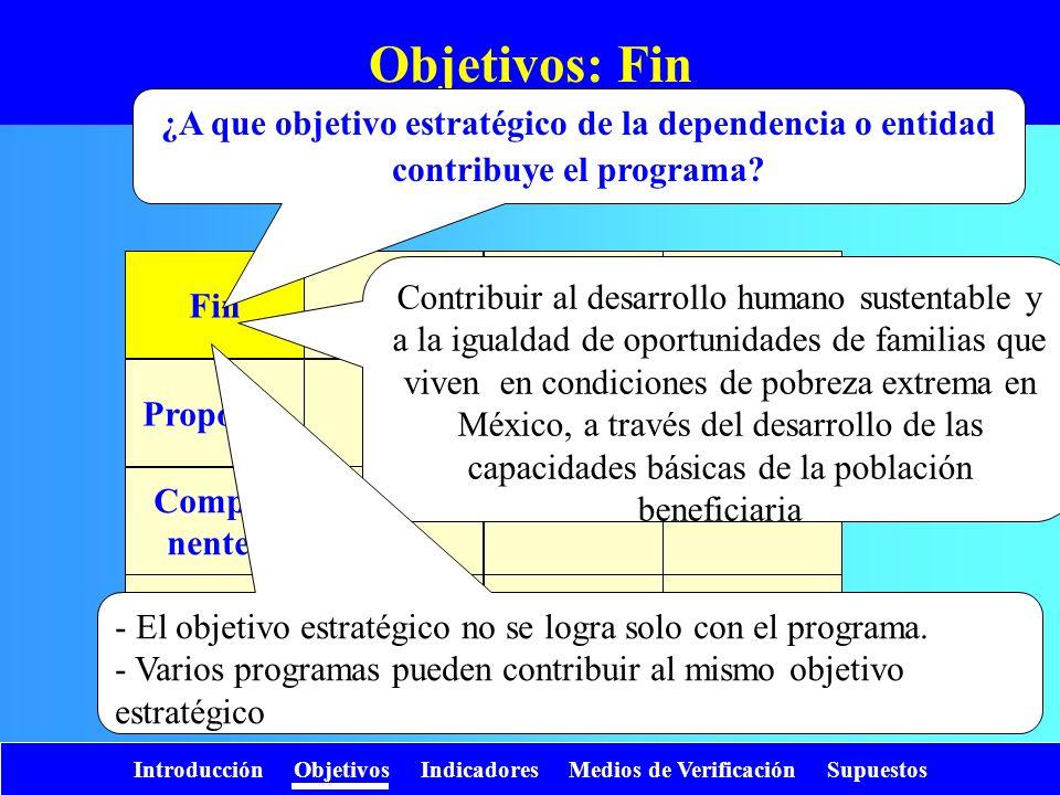 Introducción Objetivos Indicadores Medios de Verificación Supuestos Objetivos: Fin Fin Propósito Compo- nentes Activi- dades ¿A que objetivo estratégi