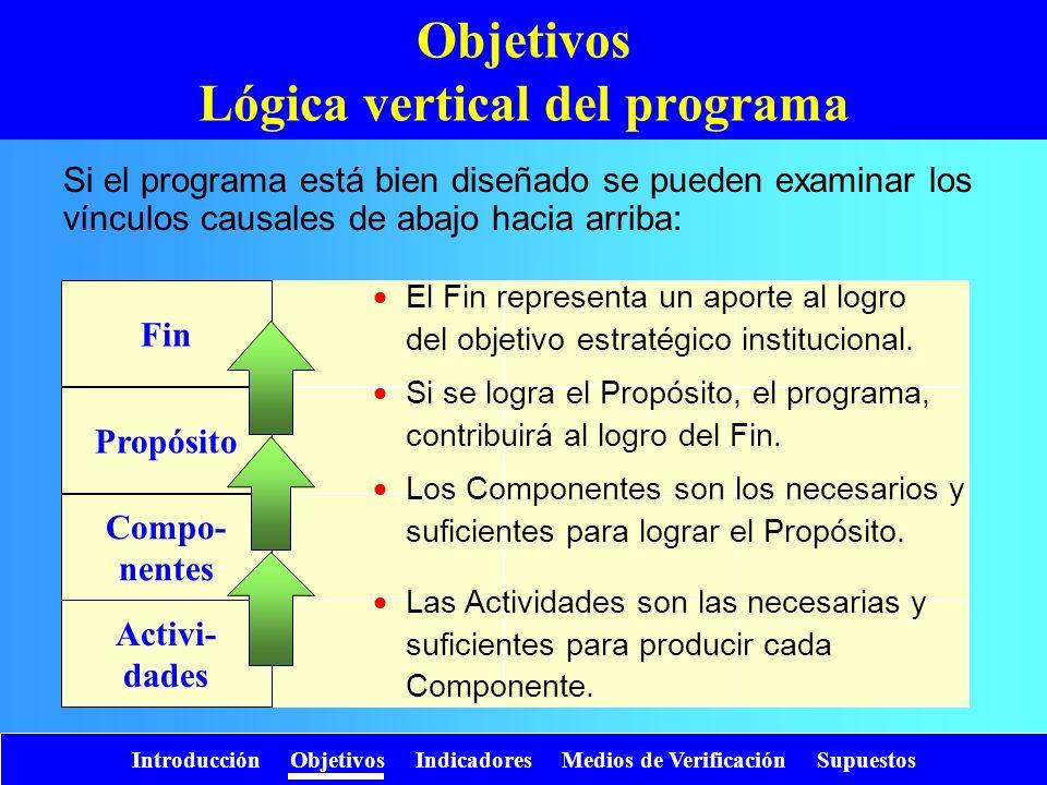 Propósito Compo- nentes Activi- dades Fin Objetivos Lógica vertical del programa Si el programa está bien diseñado se pueden examinar los vínculos cau
