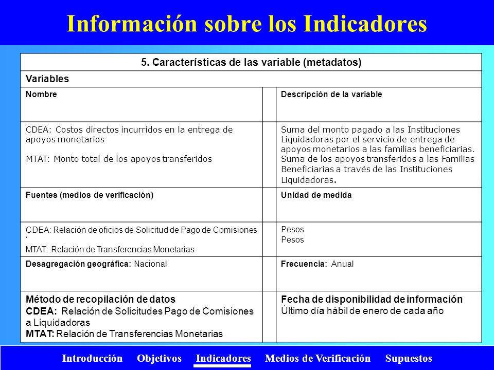 Introducción Objetivos Indicadores Medios de Verificación Supuestos Información sobre los Indicadores 5. Características de las variable (metadatos) V