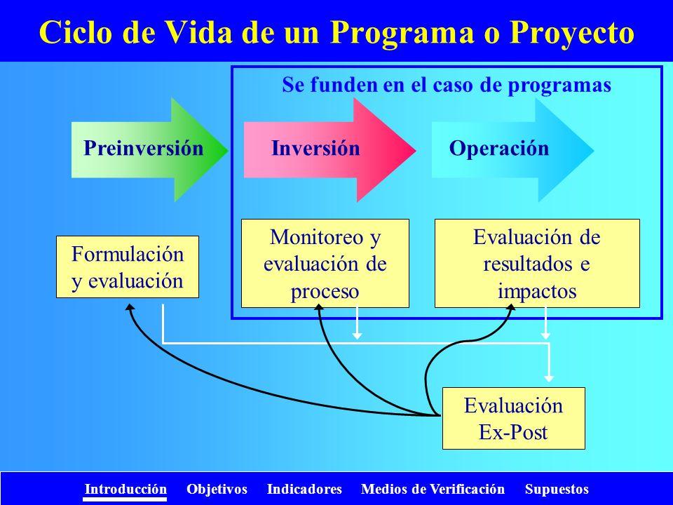 Introducción Objetivos Indicadores Medios de Verificación Supuestos Indicadores para actividades Indicadores de costo –Relacionan costos (presupuestado / real) –Ej.