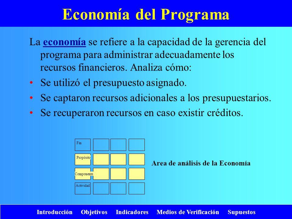 Introducción Objetivos Indicadores Medios de Verificación Supuestos Economía del Programa La economía se refiere a la capacidad de la gerencia del pro
