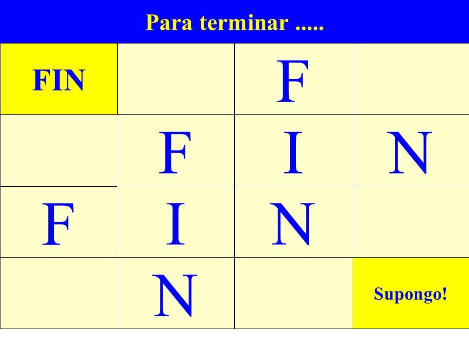 Para terminar..... FIN F IN Supongo! N F F N I