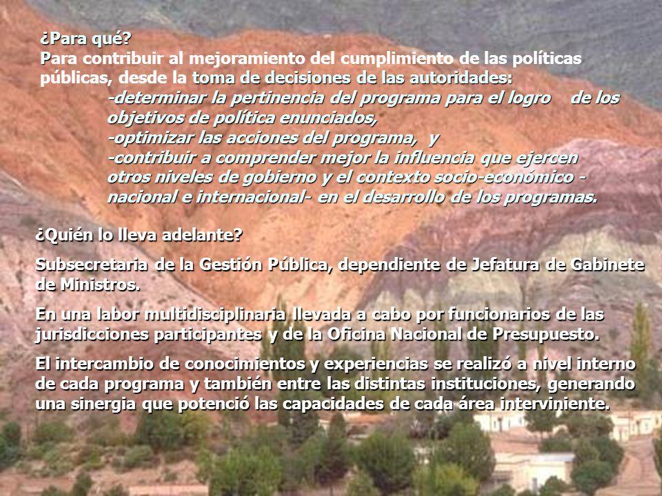 ¿Para qué? P toma de decisiones de las autoridades: -determinar la pertinencia del programa para el logro de los objetivos de política enunciados, -op