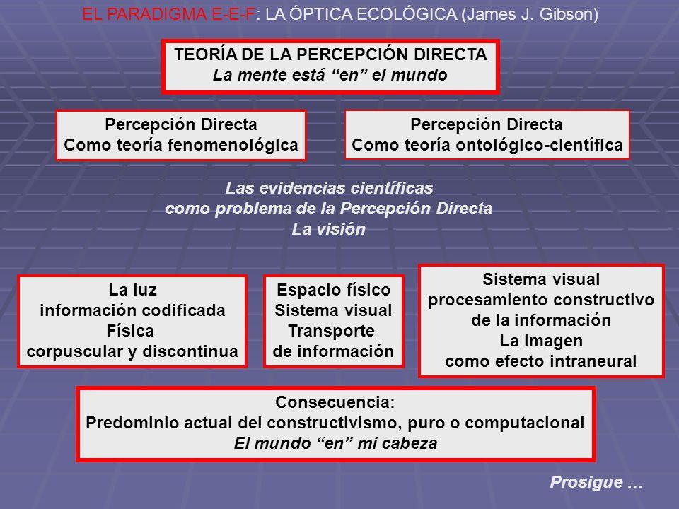EL PARADIGMA E-E-F: LA ÓPTICA ECOLÓGICA (James J. Gibson) TEORÍA DE LA PERCEPCIÓN DIRECTA La mente está en el mundo Percepción Directa Como teoría fen