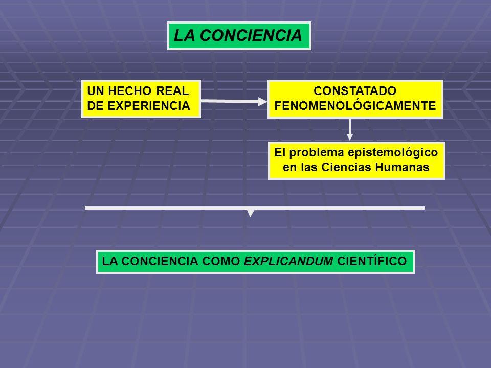 LA CONCIENCIA UN HECHO REAL DE EXPERIENCIA CONSTATADO FENOMENOLÓGICAMENTE El problema epistemológico en las Ciencias Humanas LA CONCIENCIA COMO EXPLIC