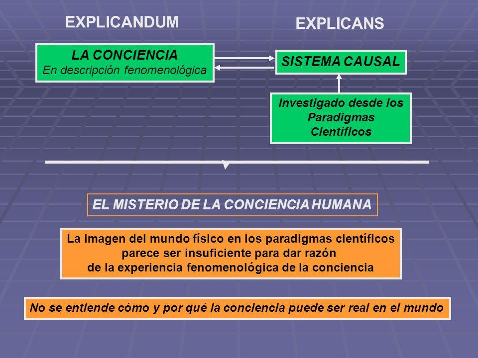 LA CONCIENCIA En descripción fenomenológica EXPLICANDUM SISTEMA CAUSAL EXPLICANS Investigado desde los Paradigmas Científicos EL MISTERIO DE LA CONCIE