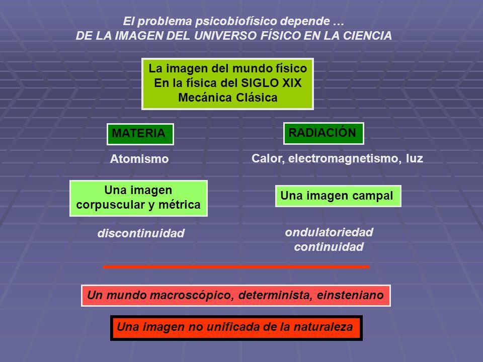 El problema psicobiofísico depende … DE LA IMAGEN DEL UNIVERSO FÍSICO EN LA CIENCIA La imagen del mundo físico En la física del SIGLO XIX Mecánica Clá