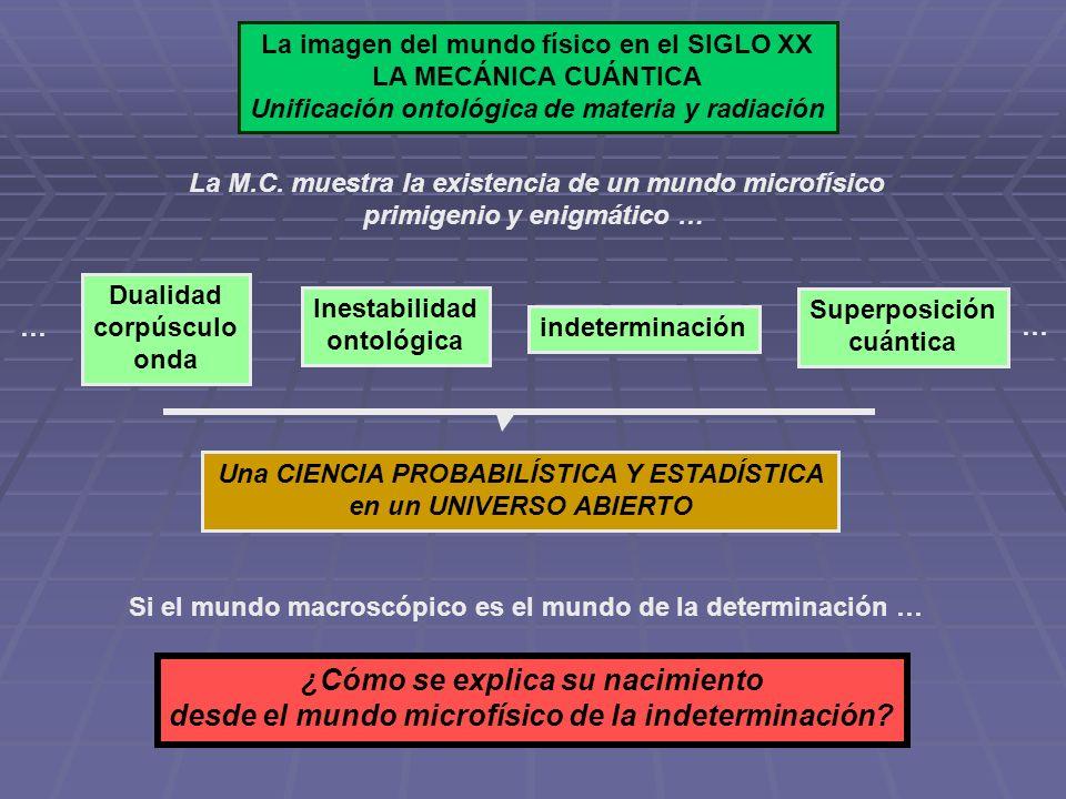 Dos dimensiones actuales de la imagen del mundo físico en la Mecánica Cuántica … FENÓMENOS HOLÍSTICOS FENÓMENOS DE DIFERENCIACIÓN Y CLAUSURA Condensados de Bose-Einstein Inconsistencia ontológica Superposición Efectos EPR Coherencia cuántica Causalidad no local Acción a distancia … … … Corpúsculos Individuación Campos clausurados Leyes organizativas Fuerzas organizativas Discontinuidad Estructuración … … … MATERIA PRIMIGENIA MATERIA EN ORGANIZACIÓN MACROSCÓPICA MATERIA BOSÓNICA MATERIA FERMIÓNICA