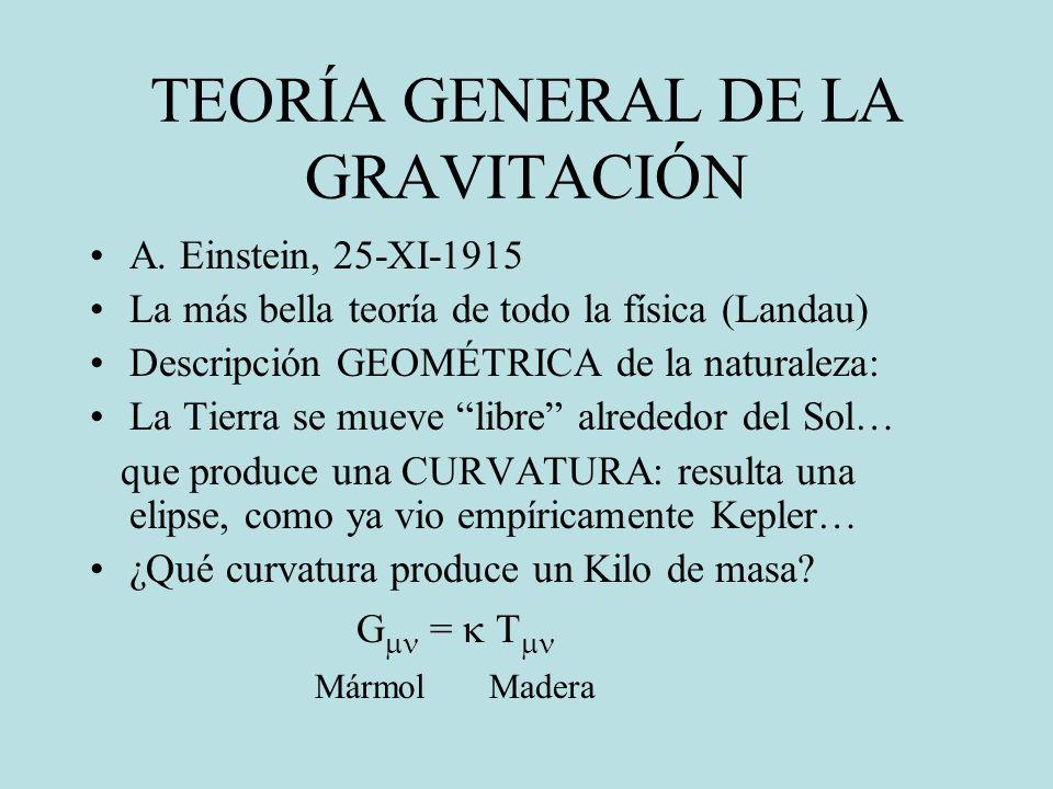 TEORÍA GENERAL DE LA GRAVITACIÓN A. Einstein, 25-XI-1915 La más bella teoría de todo la física (Landau) Descripción GEOMÉTRICA de la naturaleza: La Ti