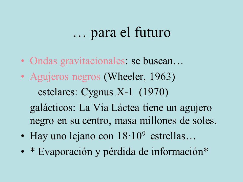 … para el futuro Ondas gravitacionales: se buscan… Agujeros negros (Wheeler, 1963) estelares: Cygnus X-1 (1970) galácticos: La Via Láctea tiene un agu