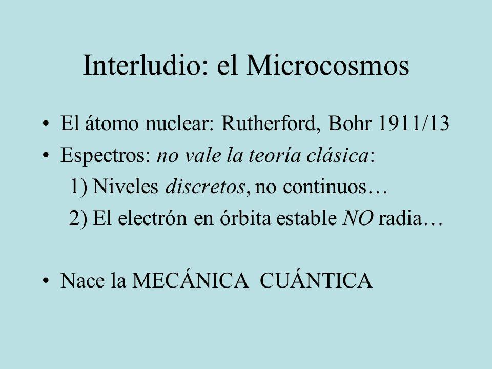 Interludio: el Microcosmos El átomo nuclear: Rutherford, Bohr 1911/13 Espectros: no vale la teoría clásica: 1) Niveles discretos, no continuos… 2) El