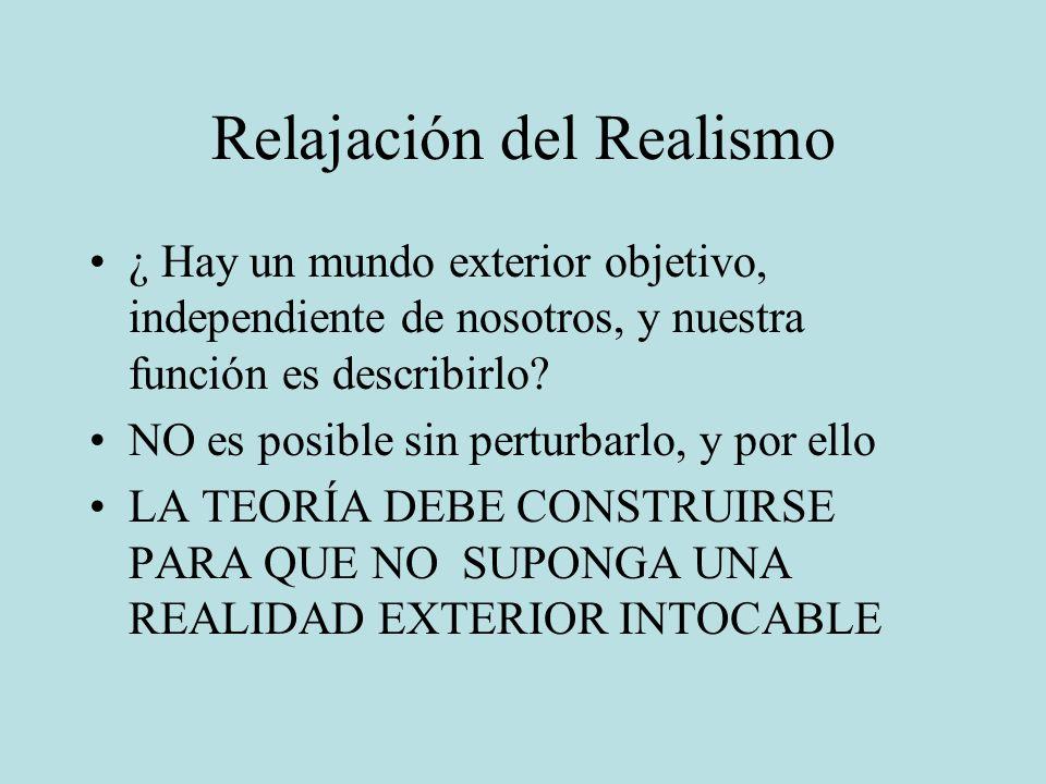 Relajación del Realismo ¿ Hay un mundo exterior objetivo, independiente de nosotros, y nuestra función es describirlo? NO es posible sin perturbarlo,