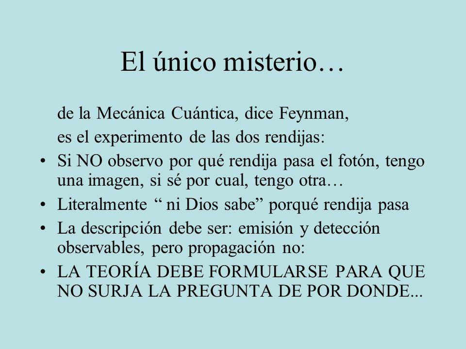 El único misterio… de la Mecánica Cuántica, dice Feynman, es el experimento de las dos rendijas: Si NO observo por qué rendija pasa el fotón, tengo un