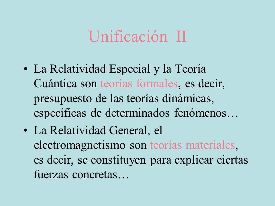 Unificación II La Relatividad Especial y la Teoría Cuántica son teorías formales, es decir, presupuesto de las teorías dinámicas, específicas de deter