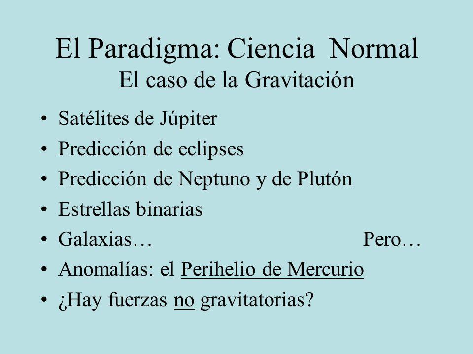 El Paradigma: Ciencia Normal El caso de la Gravitación Satélites de Júpiter Predicción de eclipses Predicción de Neptuno y de Plutón Estrellas binaria