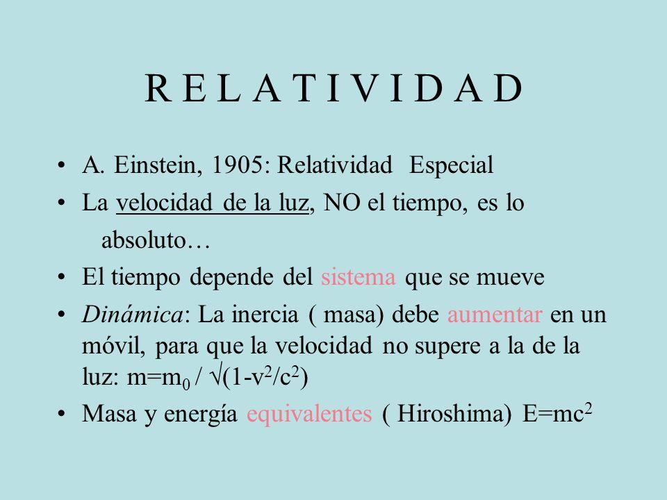 R E L A T I V I D A D A. Einstein, 1905: Relatividad Especial La velocidad de la luz, NO el tiempo, es lo absoluto… El tiempo depende del sistema que