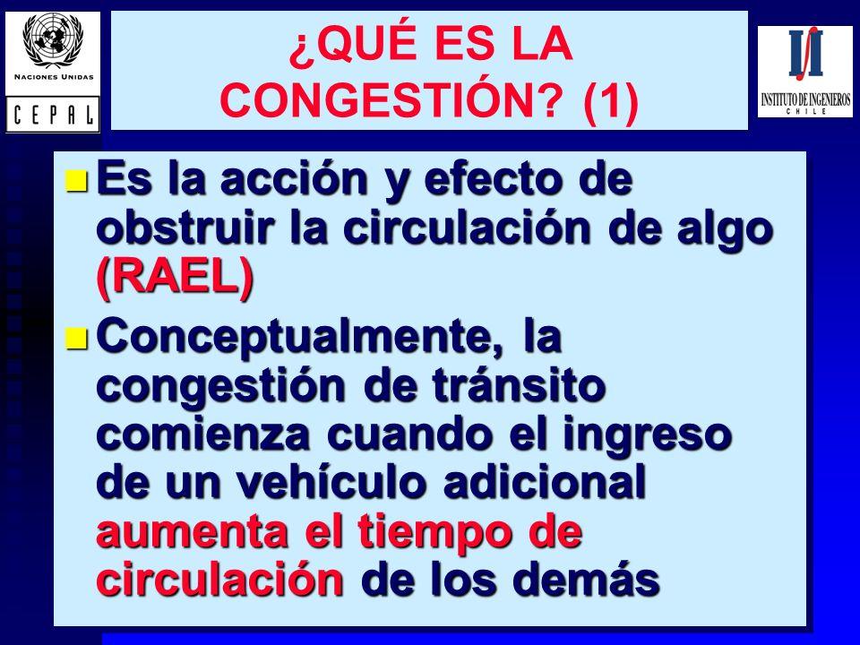 2 ¿QUÉ ES LA CONGESTIÓN? (1) n Es la acción y efecto de obstruir la circulación de algo (RAEL) n Conceptualmente, la congestión de tránsito comienza c