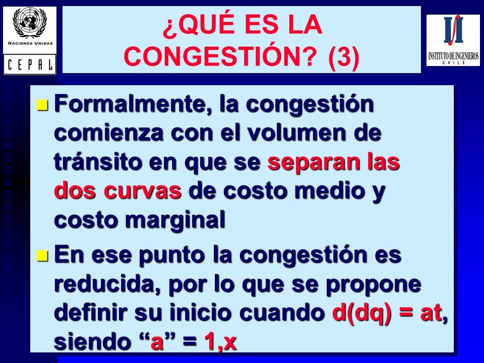 4 ¿QUÉ ES LA CONGESTIÓN? (3) n Formalmente, la congestión comienza con el volumen de tránsito en que se separan las dos curvas de costo medio y costo
