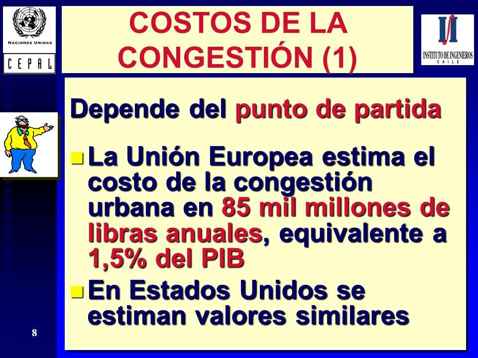 8 COSTOS DE LA CONGESTIÓN (1) Depende del punto de partida n La Unión Europea estima el costo de la congestión urbana en 85 mil millones de libras anu