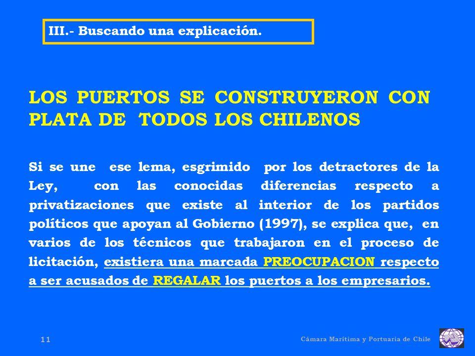 Cámara Marítima y Portuaria de Chile 11 III.- Buscando una explicación.