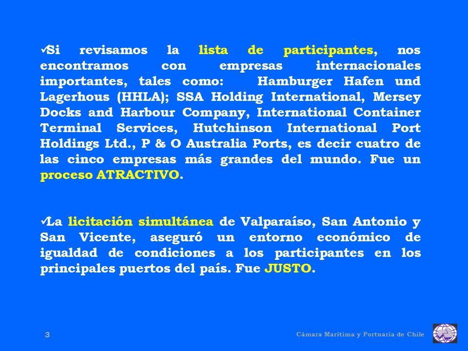 Cámara Marítima y Portuaria de Chile 3 Si revisamos la lista de participantes, nos encontramos con empresas internacionales importantes, tales como: Hamburger Hafen und Lagerhous (HHLA); SSA Holding International, Mersey Docks and Harbour Company, International Container Terminal Services, Hutchinson International Port Holdings Ltd., P & O Australia Ports, es decir cuatro de las cinco empresas más grandes del mundo.