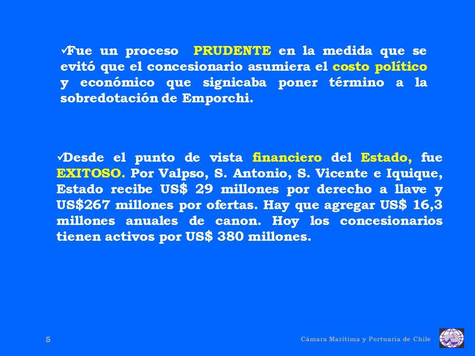 Cámara Marítima y Portuaria de Chile 5 Fue un proceso PRUDENTE en la medida que se evitó que el concesionario asumiera el costo político y económico que signicaba poner término a la sobredotación de Emporchi.