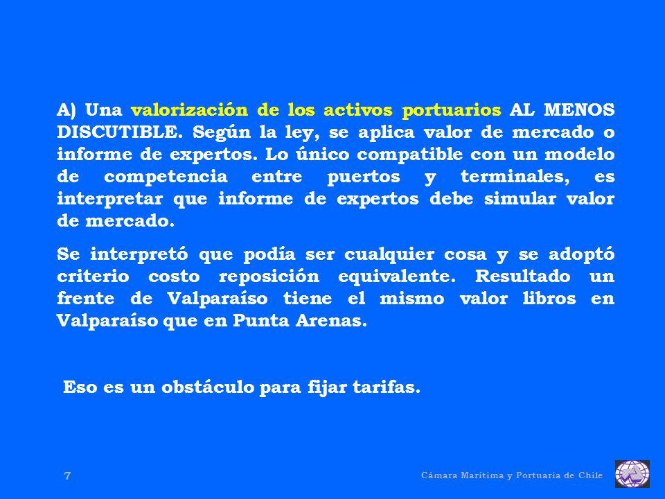 Cámara Marítima y Portuaria de Chile 7 A) Una valorización de los activos portuarios AL MENOS DISCUTIBLE.