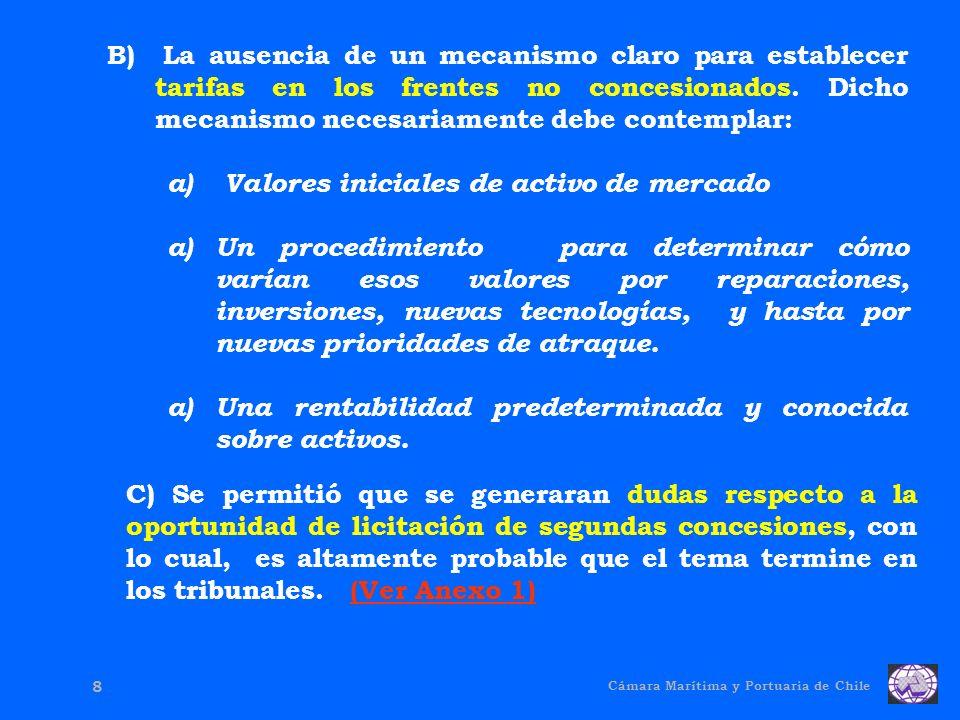 Cámara Marítima y Portuaria de Chile 8 B) La ausencia de un mecanismo claro para establecer tarifas en los frentes no concesionados.