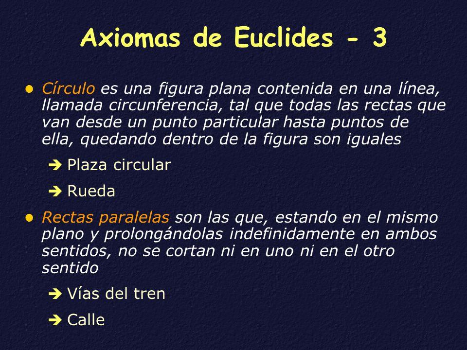 Axiomas de Euclides - 3 Círculo es una figura plana contenida en una línea, llamada circunferencia, tal que todas las rectas que van desde un punto pa