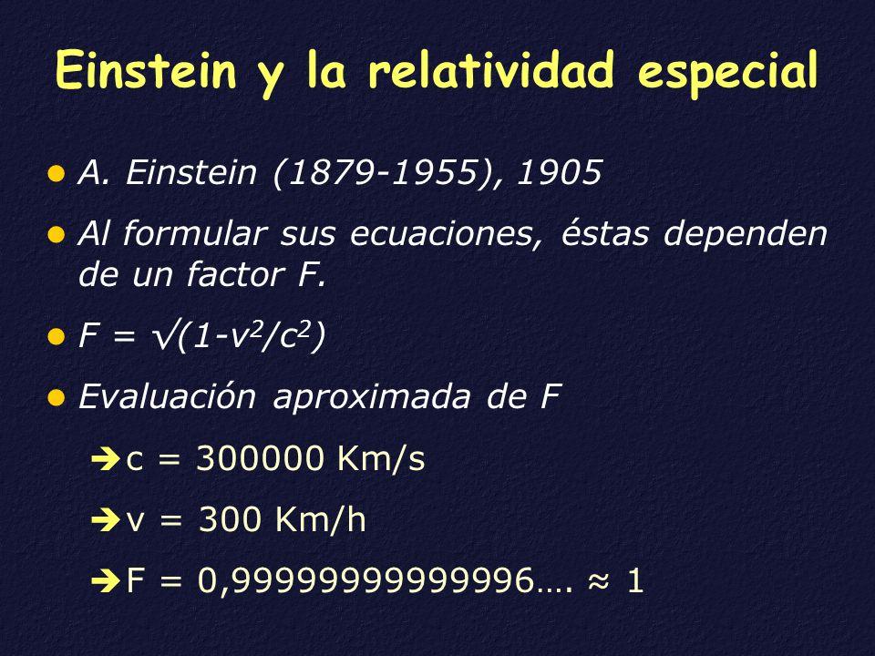 Einstein y la relatividad especial A. Einstein (1879-1955), 1905 Al formular sus ecuaciones, éstas dependen de un factor F. F = (1-v 2 /c 2 ) Evaluaci