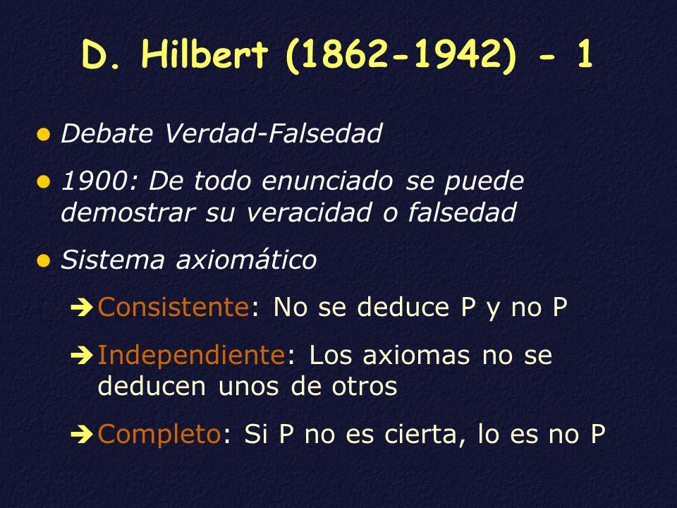 D. Hilbert (1862-1942) - 1 Debate Verdad-Falsedad 1900: De todo enunciado se puede demostrar su veracidad o falsedad Sistema axiomático Consistente: N