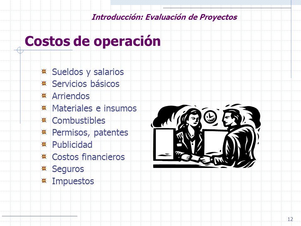 12 Introducción: Evaluación de Proyectos Costos de operación Sueldos y salarios Servicios básicos Arriendos Materiales e insumos Combustibles Permisos
