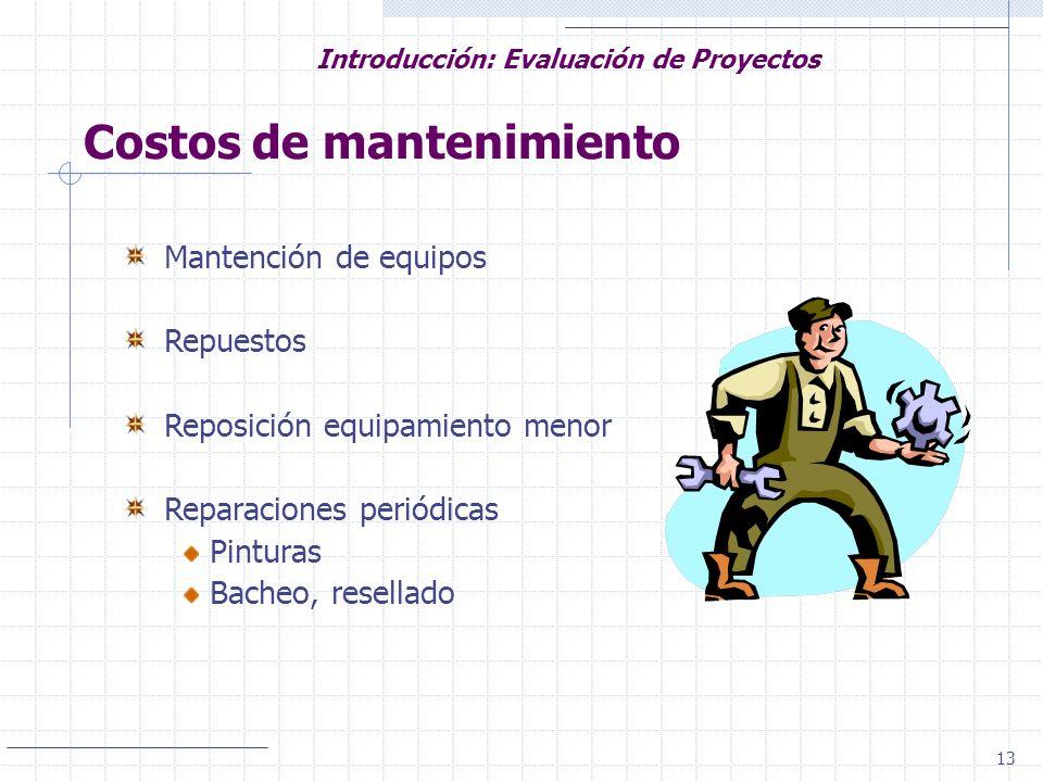 13 Introducción: Evaluación de Proyectos Costos de mantenimiento Mantención de equipos Repuestos Reposición equipamiento menor Reparaciones periódicas