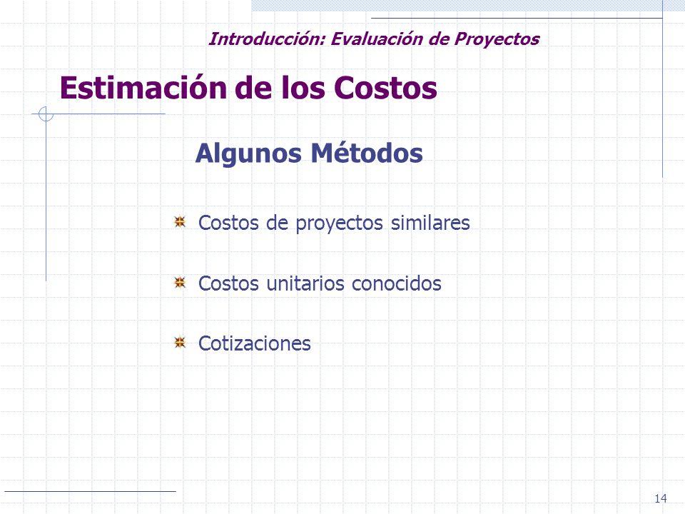 14 Introducción: Evaluación de Proyectos Estimación de los Costos Algunos Métodos Costos de proyectos similares Costos unitarios conocidos Cotizacione
