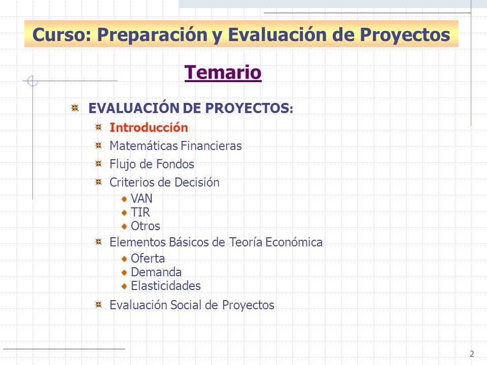 2 Introducción: Evaluación de Proyectos Curso: Preparación y Evaluación de Proyectos EVALUACIÓN DE PROYECTOS : Introducción Matemáticas Financieras Fl