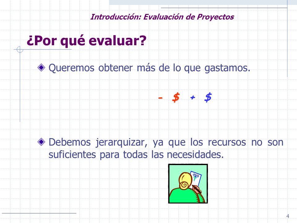4 Introducción: Evaluación de Proyectos Queremos obtener más de lo que gastamos. - $ - $ + $ Debemos jerarquizar, ya que los recursos no son suficient