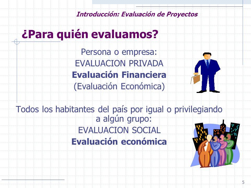 5 Introducción: Evaluación de Proyectos ¿Para quién evaluamos? Persona o empresa: EVALUACION PRIVADA Evaluación Financiera (Evaluación Económica) Todo