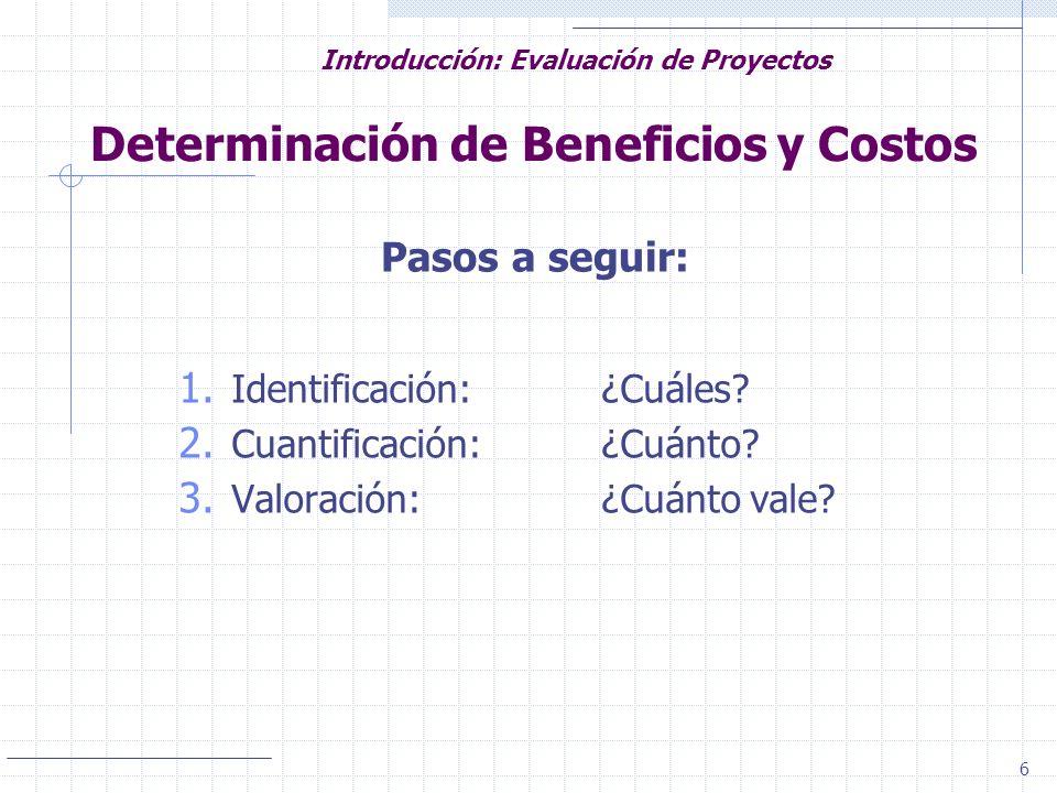 6 Introducción: Evaluación de Proyectos Determinación de Beneficios y Costos Pasos a seguir: 1. Identificación:¿Cuáles? 2. Cuantificación:¿Cuánto? 3.