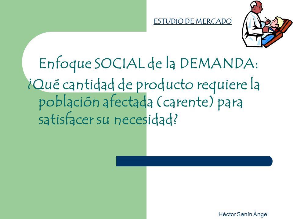 Héctor Sanín Ángel ESTUDIO DE MERCADO Enfoque SOCIAL de la DEMANDA: ¿Qué cantidad de producto requiere la población afectada (carente) para satisfacer