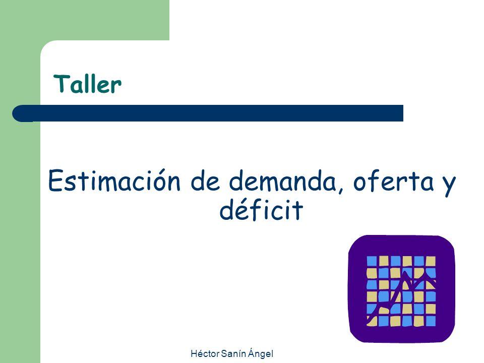 Héctor Sanín Ángel Taller Estimación de demanda, oferta y déficit