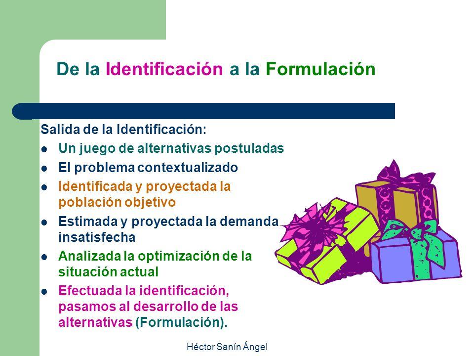 Héctor Sanín Ángel De la Identificación a la Formulación Salida de la Identificación: Un juego de alternativas postuladas El problema contextualizado
