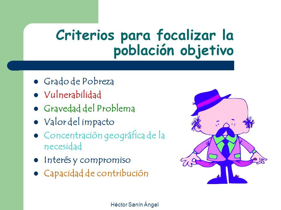 Héctor Sanín Ángel Criterios para focalizar la población objetivo Grado de Pobreza Vulnerabilidad Gravedad del Problema Valor del impacto Concentració