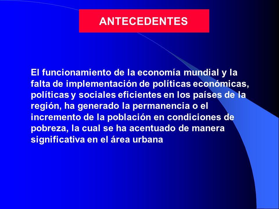 ANTECEDENTES El funcionamiento de la economía mundial y la falta de implementación de políticas económicas, políticas y sociales eficientes en los paí